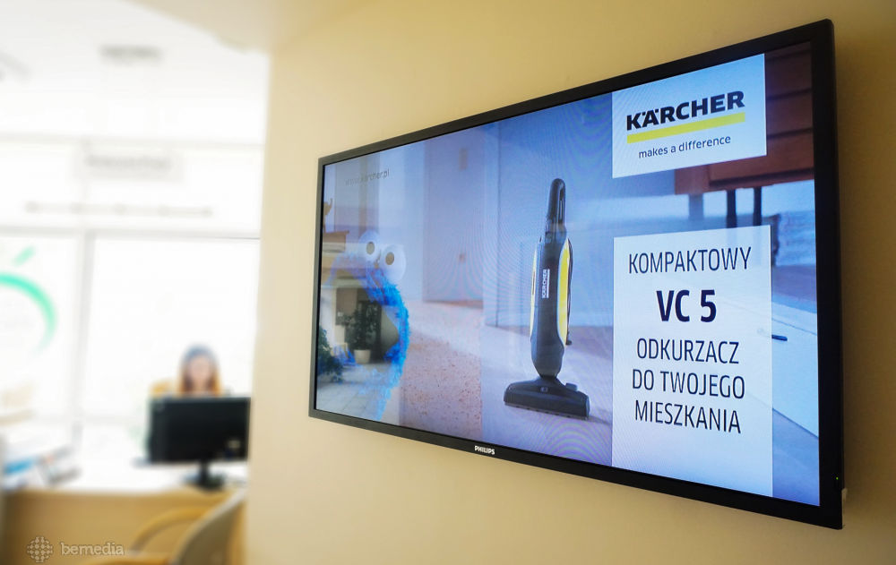 reklama firmy Karcher w przychodniach medycznych